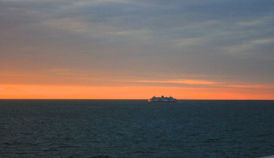BC Ferry heads towards Vancouver in sunrise, Ley Doctor photo.
