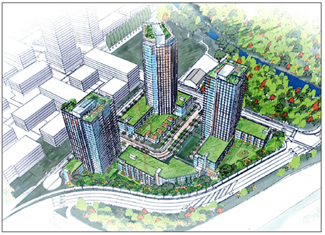 A conceptual design of the Seylynn Village project. Photo via DNV.org, District of North Vancouver