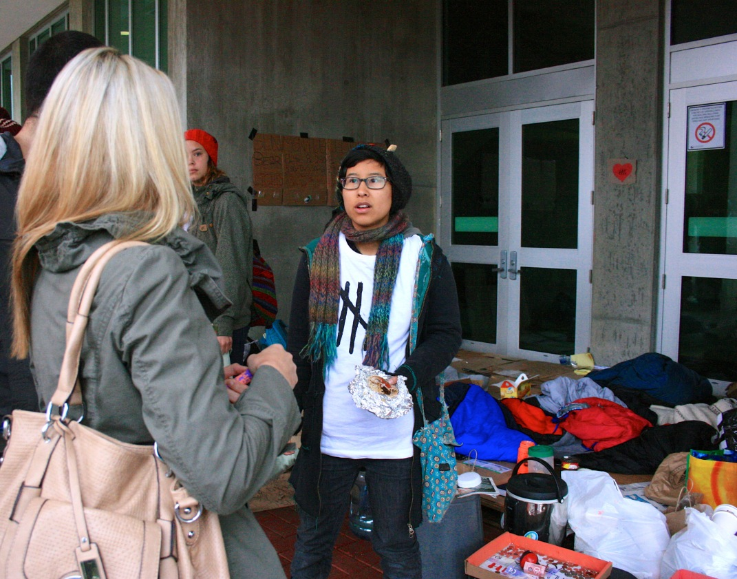 Tiare Jung of Capilano University explaining the 5 Days For Homelessness campaign she and other students are participating in