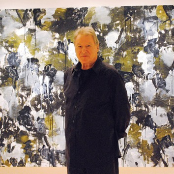 Canadian abstract artist Pierre Coupey in front of one of his works titled Riverbank I (For RB), photo by Ley Doctor