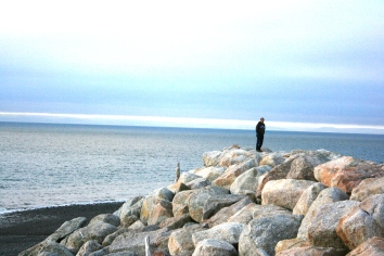 Out for a stroll on the shores of Hall's Harbour, Nova Scotia.