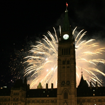 Ottawa: Fireworks behind Parliament before the light show made it extra special.