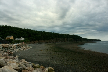 Halls Harbour has some nice views of the horizon, even on a cloudy day.